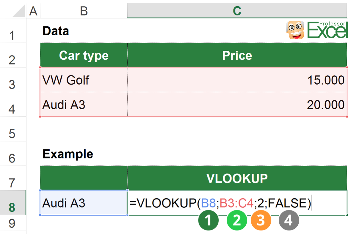 vlookup, excel, example, structure, parts, false