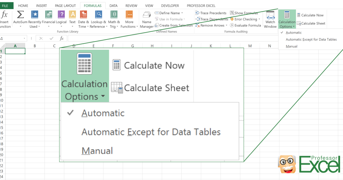 calculate, calculation, options, manual, automatic, excel