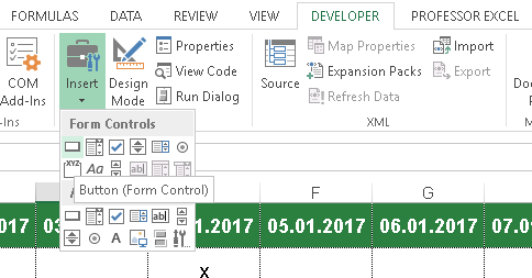 button, excel, connect, vba macro, run, execute