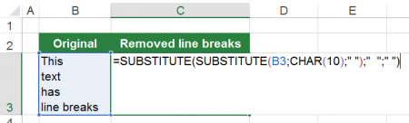 formula, substitute, line, breaks, excel