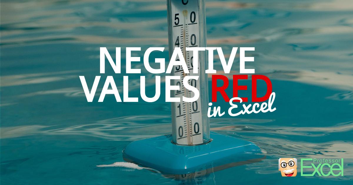 excel, highlight, negative, color, red, minus