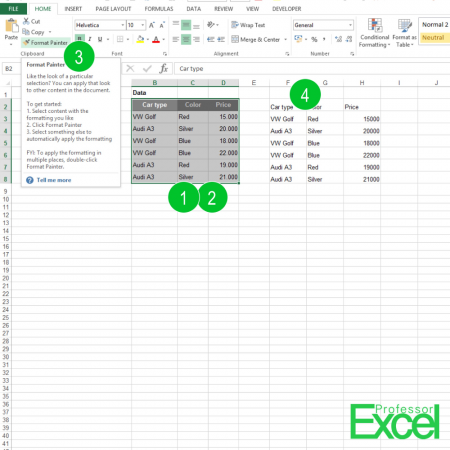 format, painter, format painter, excel, How to Use the Format Painter