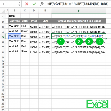 space character remove last letter in excel if it is blank