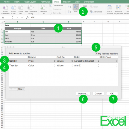 sort, sorting, excel, a-z, a to z, How to Sort Data