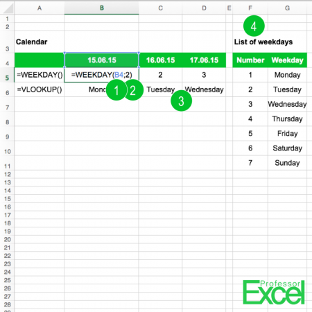 weekday, weekday name, day, name, excel