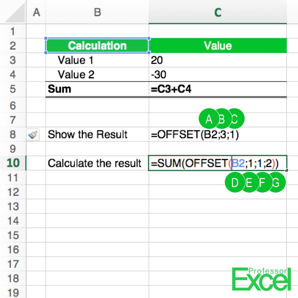 OFFSET Formula in Excel: How to Use it - Professor Excel | Professor