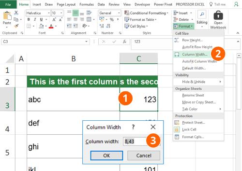 specifi, column, width, distribute, row, excel