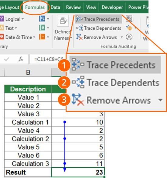 trace, depending, preceding, precedents, dependents, cells, referenced, linked