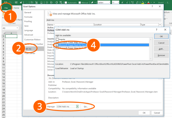 activate, enable, powerpivot, power, pivot, excel, add-in