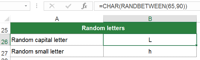 small, capital, letters, random, characters, char, excel