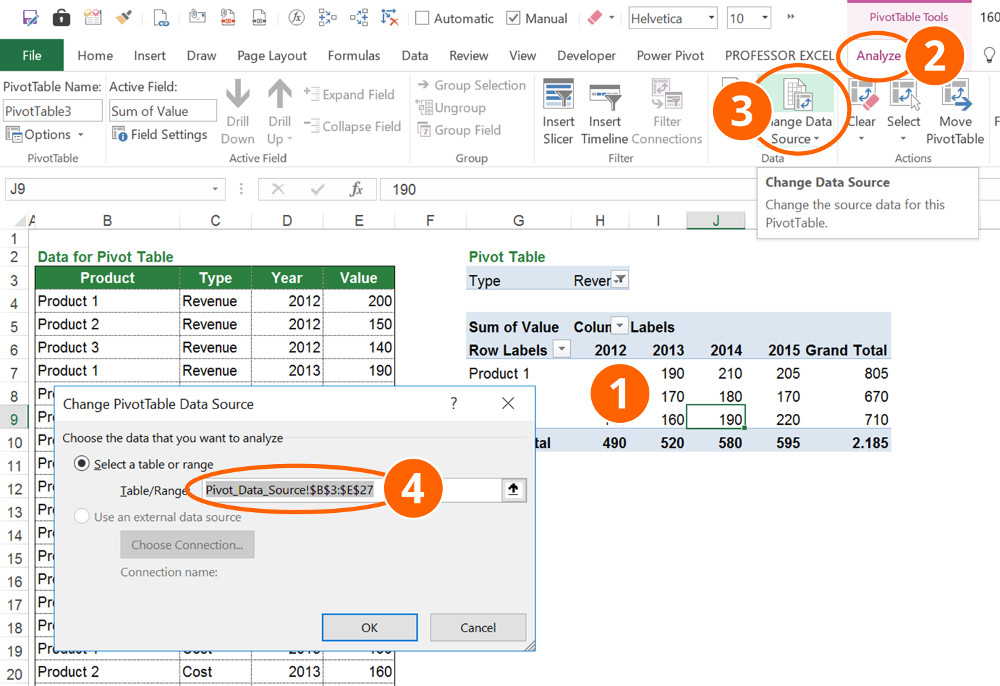 pivot, table, pivottable, data, source, excel