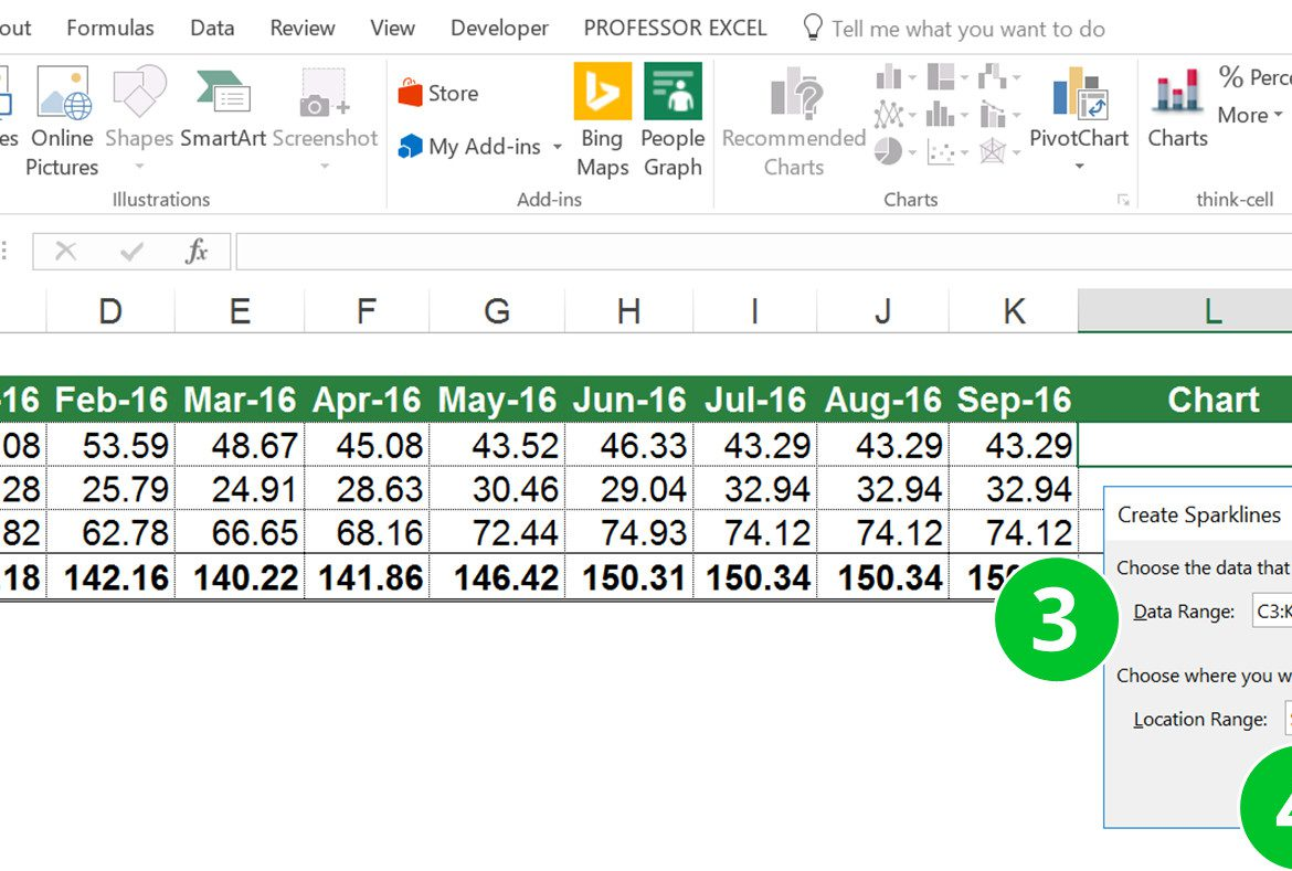 sparklines, excel, tiny, charts, graphs, single, cell, insert, add