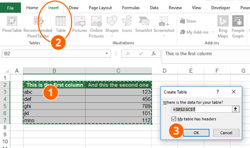insert, table, data, table, excel