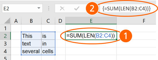 array, formula, length, multiple, cells