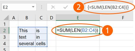 array, formula, length, multiple, cells