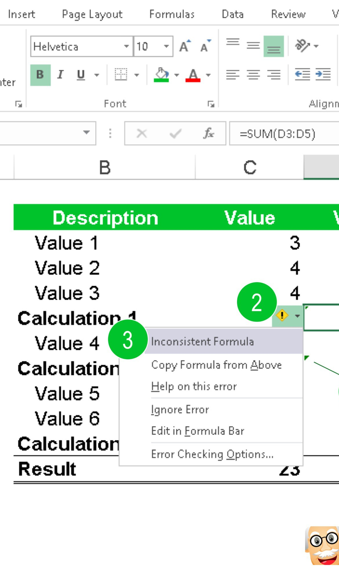 error, excel, green, corner, triangle