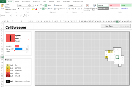 cellsweeper, game, excel