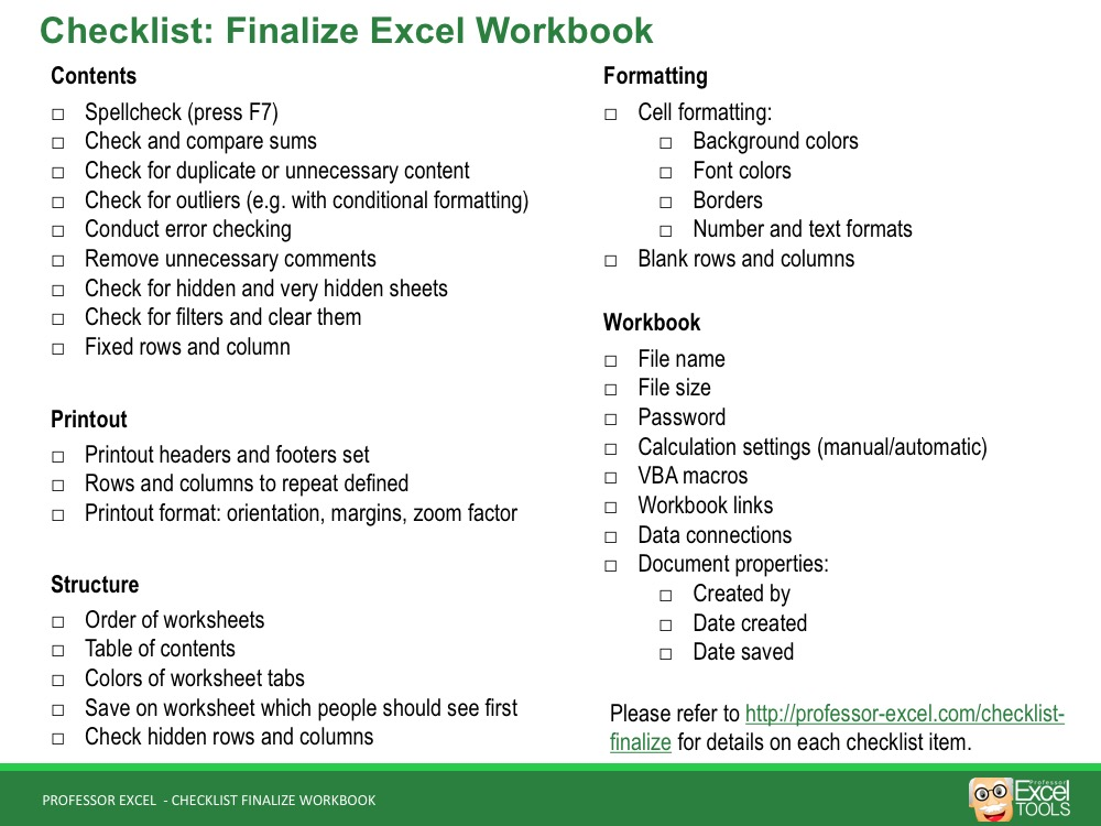 Finalize Your Excel Workbook The Complete Checklist Professor Excel