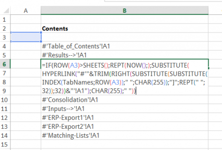 copy, formula, table of contents, excel, named, range