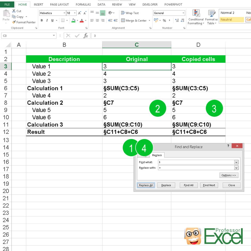 ReplaceEqualSign   Professor Excel   Professor Excel