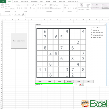 sudoku, excel, play, solve, fun