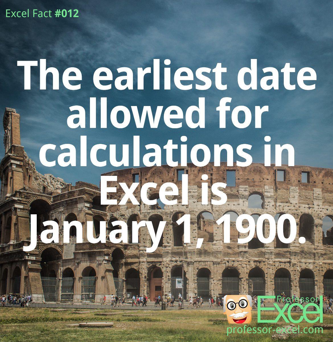 earliest, date, excel, fact