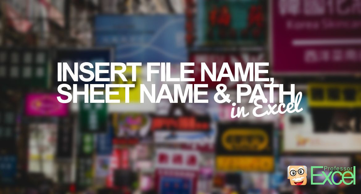File Name, Sheet Name, Path: Insert File Information in