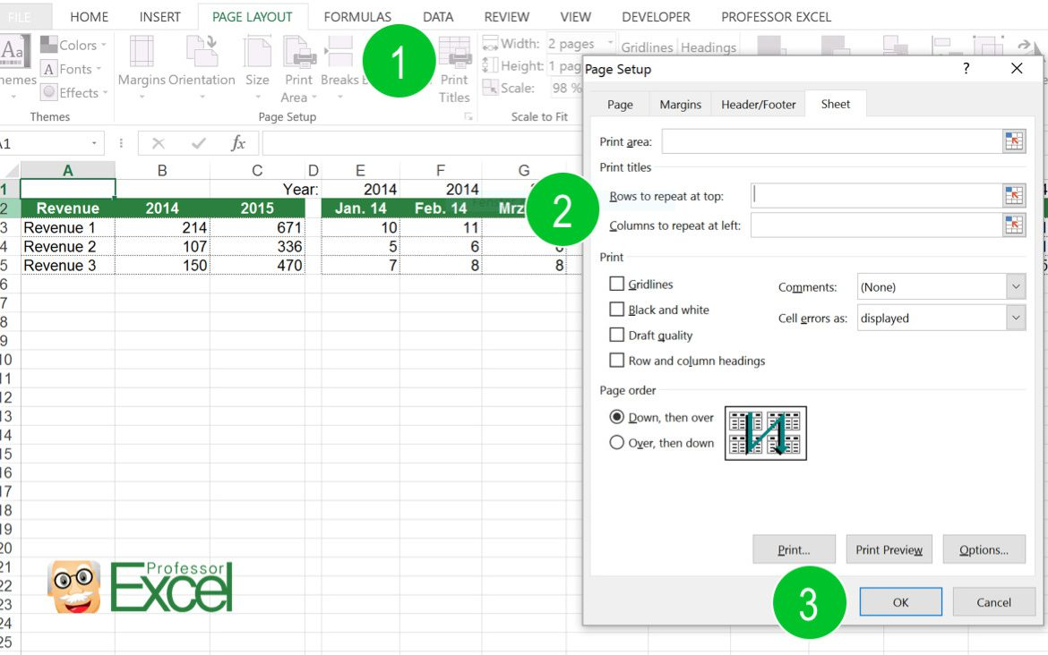rows, column, repeat, print, printout, excel