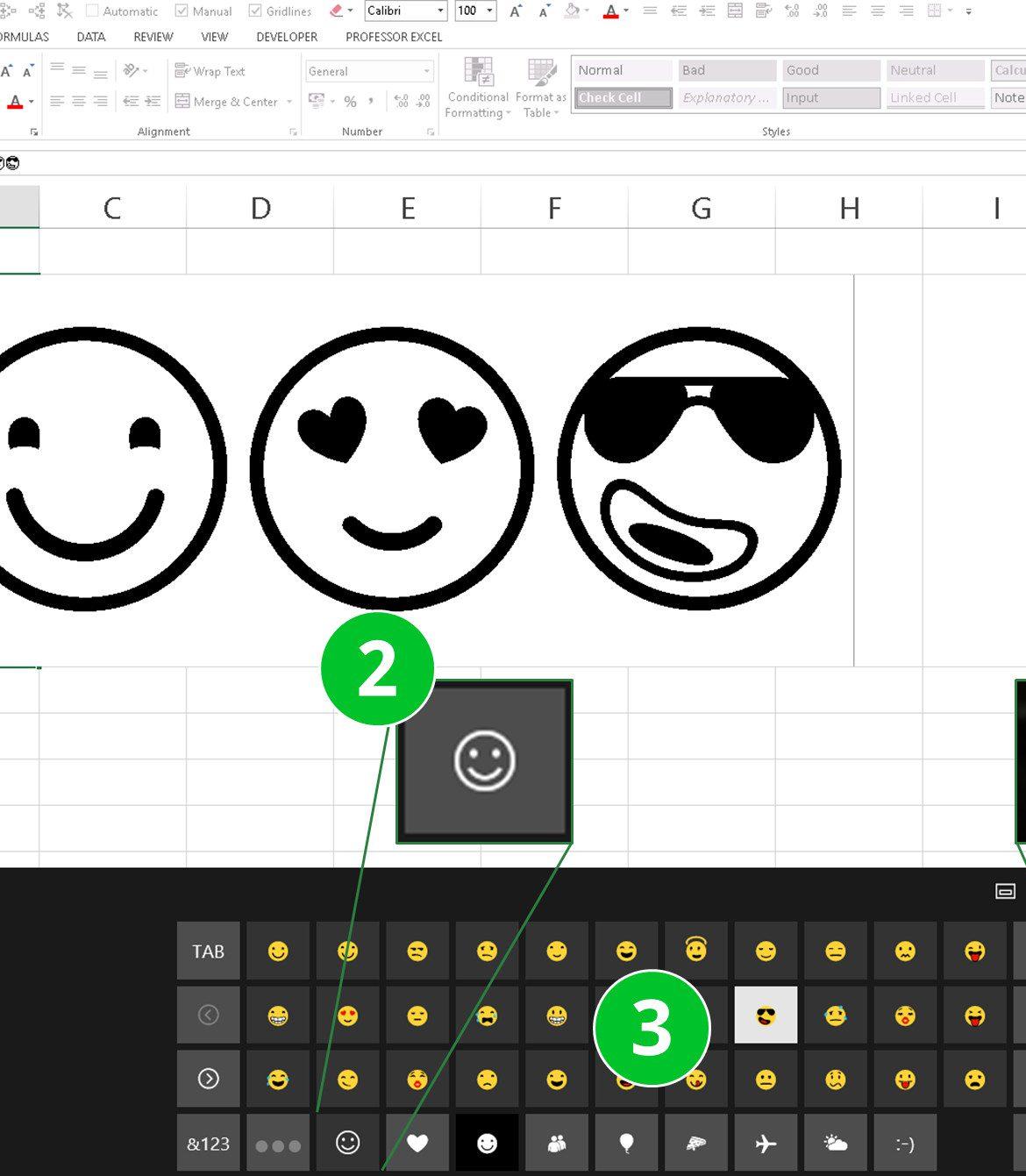 emoji, emojis, windows 8, windows 10, keyboard, excel, insert
