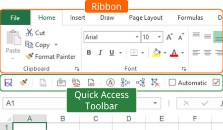 definitions, quick access toolbar, qat, ribbon, excel