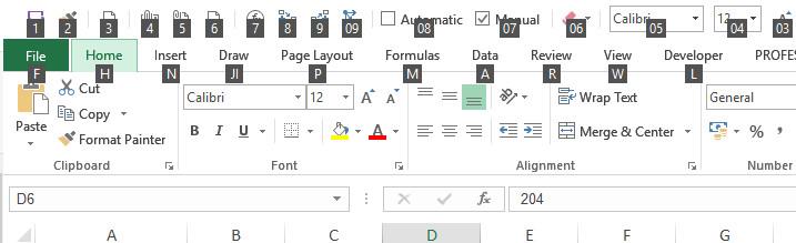 keyboard, shortcuts, alt, quick access toolbar, excel