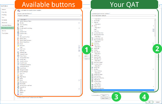 organize, quick access toolbar, qat, excel