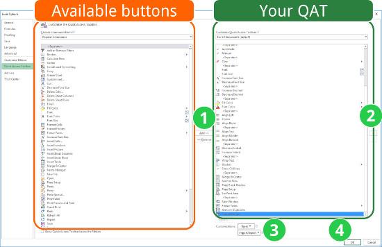 organize, quick access toolbar, qat, excel