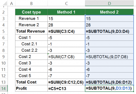 subtotal, excel, example