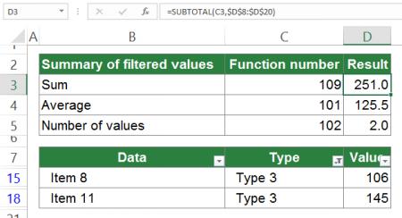 visible, rows, columns, subtotal, excel