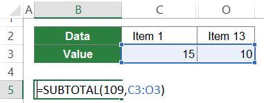 formula, subtotal, horizontal, 109, hidden, cells, columns, rows
