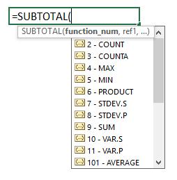 excel, function, numbers, subtotal, number
