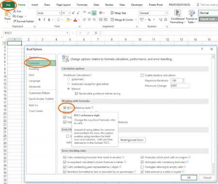 numbers, letters, excel, headings, change, options