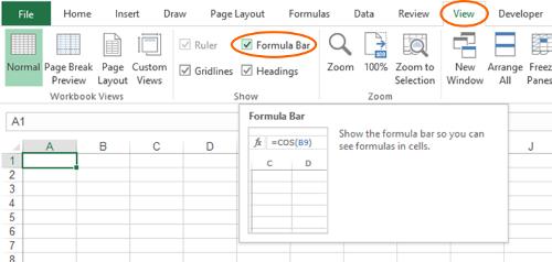 formula, bar, missing, show, hide, excel