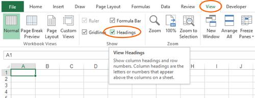 headings, letters, columns, rows, numbers, excel, header