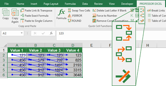 Trace all precedents and dependents with Professor Excel Tools