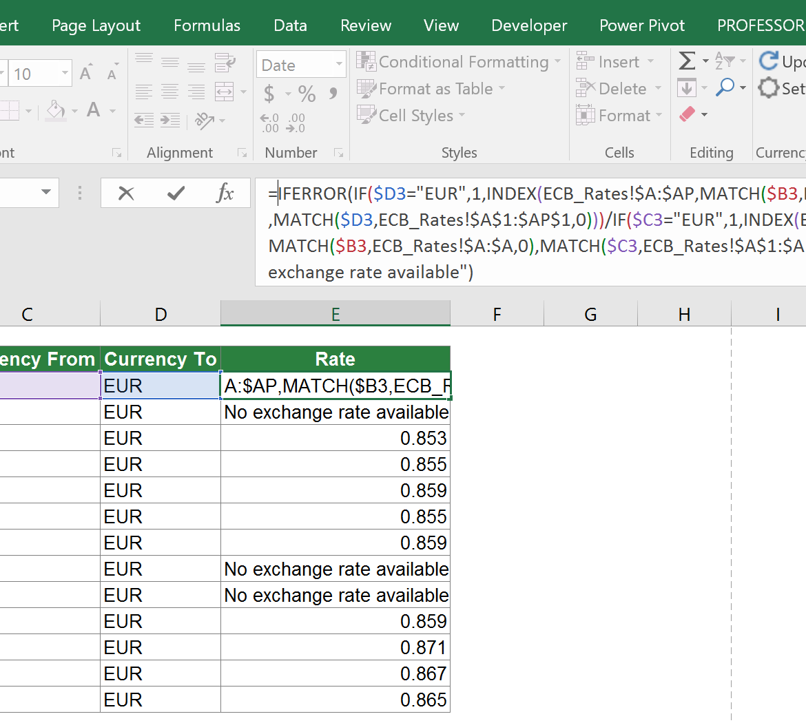 exchange, rates, example, daily, historical, excel