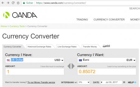 Currency Exchange Rate Excel Oanda
