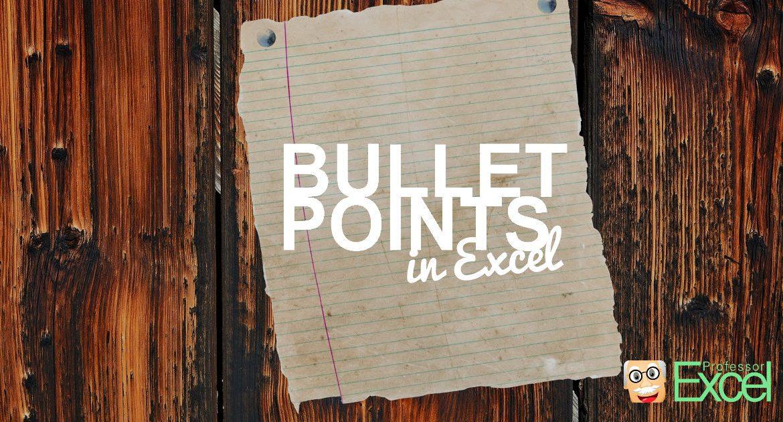 bullet, points, excel