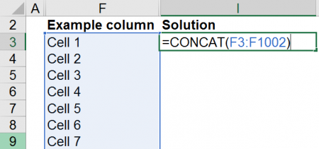 Example of how to combine 1,000 cells using the CONCAT formula.
