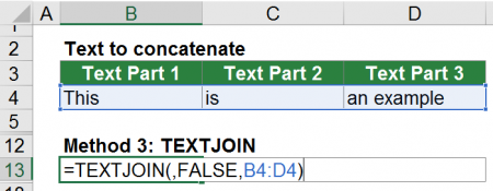 Example of the TEXTJOIN formula.