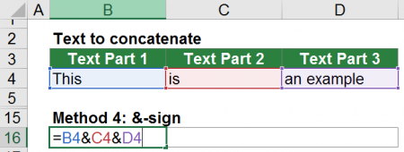 Example of the &-sign to combine values.