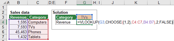 example, vlookup to the left, leftwards, vlookup, excel