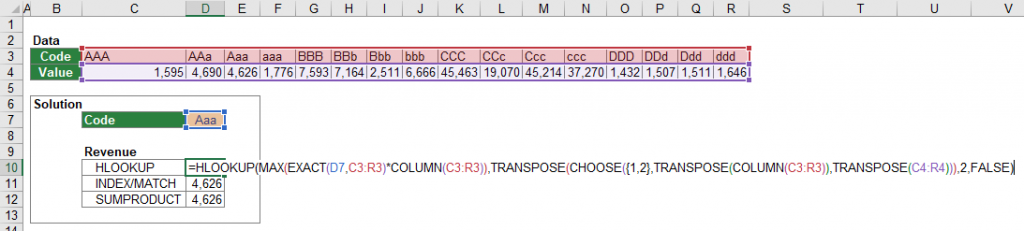 Example for a case-sensitive HLOOKUP formula.