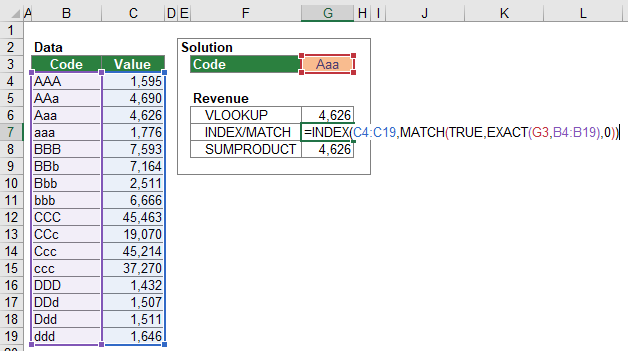 Example for the case-sensitive INDEX/MATCH formula.